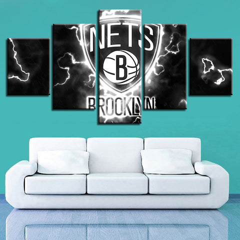 5 Panel Brooklyn Nets Décor Canvas Wall Art HD Print.