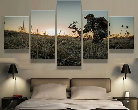 "5 Panel Framed ""The Prairie Hunter"" Modern Décor Canvas Wall Art HD Print"