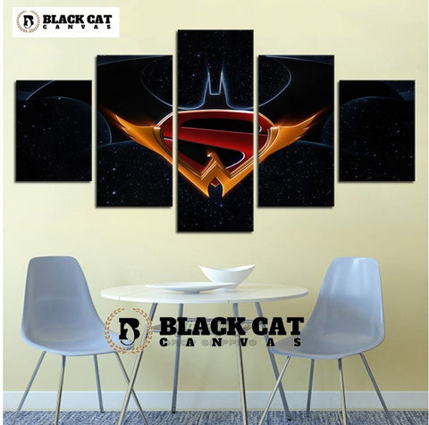 5 Panel Batman Superman Wonder Woman DC Modern Decor Canvas Wall Art HD Print