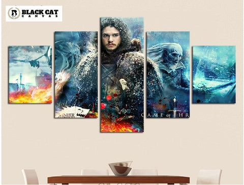 5 Panel Game of Thrones Jon Snow Modern Décor Wall Art Canvas HD Print