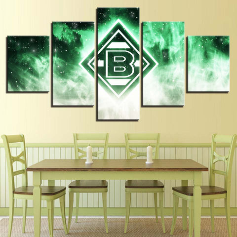 5 Panel  Borussia Monchengladbach Modern Décor Canvas Wall Art HD Print.