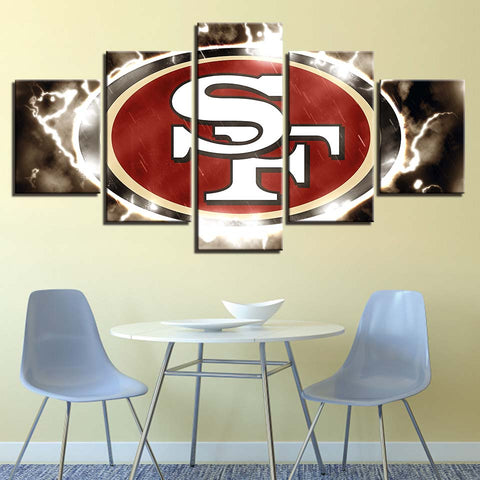 5 Panel San Francisco 49ers Modern Décor Canvas Wall Art HD Print.