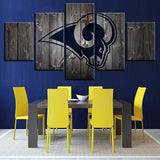 5 Panel Los Angeles Rams Modern Décor Canvas Wall Art HD Print.