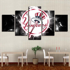 5 Panel New York Yankees Modern Decor Canvas Wall Art HD Print.