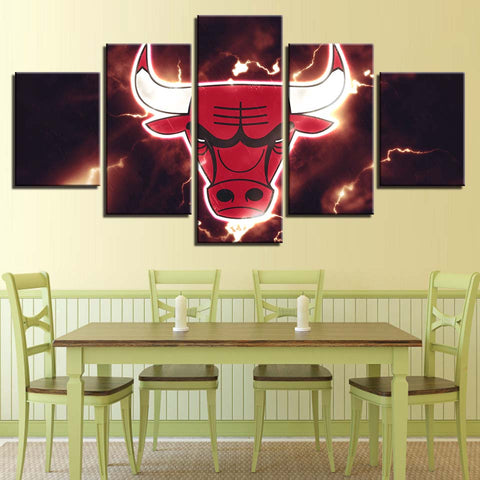 5 Panel Chicago Bulls Modern Décor Canvas Wall Art HD Print.