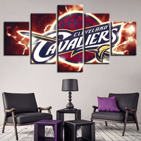 5 Panel Cleveland Cavaliers Décor Canvas Wall Art HD Print.