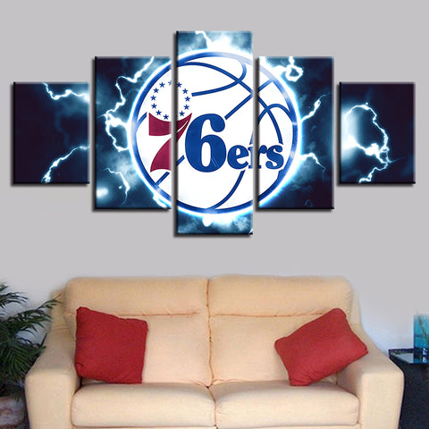 5 Panel Philadelphia 76ers Modern Décor Canvas Wall Art HD Print.