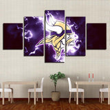 5 Panel Minnesota Vikings Modern Décor Canvas Wall Art HD Print.