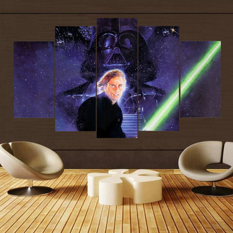 5 Panel Star Wars Luke Skywalker and Darth Vader Modern Decor Canvas Wall Art HD Print