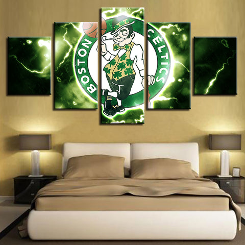 5 Panel Boston Celtics Décor Canvas Wall Art HD Print.