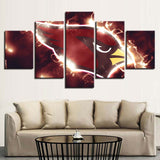5 Panel Framed Arizona Cardinals Modern Décor Canvas Wall Art HD Print.