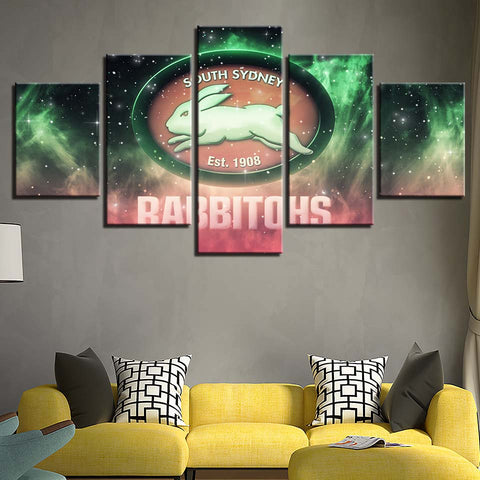 5 Panel South Sydney Rabbitohs Décor Canvas Wall Art HD Print.