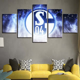 5 Panel Schalke 04 Modern Décor Canvas Wall Art HD Print.