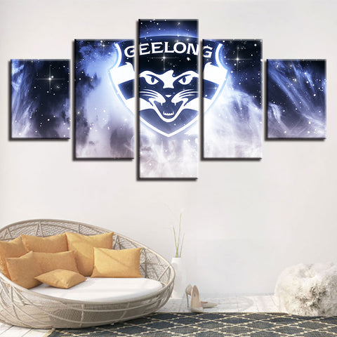 5 Panel Geelong Décor Canvas Wall Art HD Print.