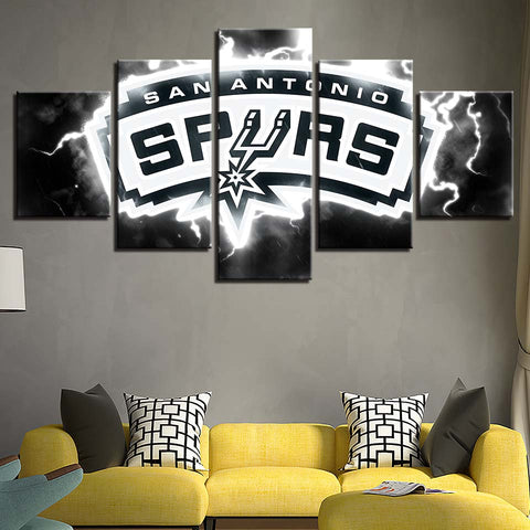 5 Panel San Antonio Spurs Modern Décor Canvas Wall Art HD Print.