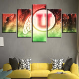 5 Panel Framed Utah Utes Décor Canvas Wall Art HD Print.