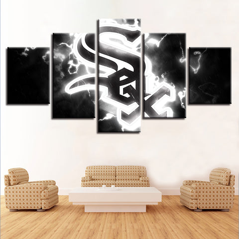 5 Panel Chicago White Socks Décor Canvas Wall Art HD Print.