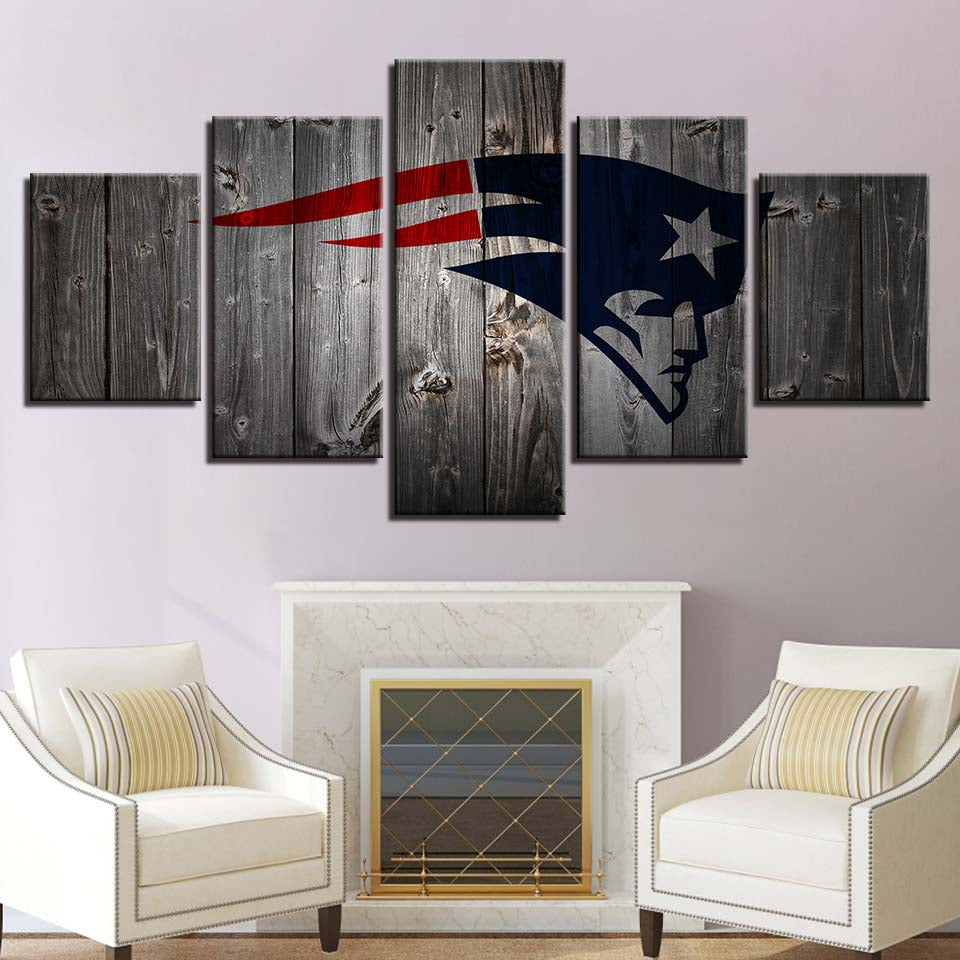 5 Panel New England Patriots Logo Modern Décor Canvas Wall Art HD Print.