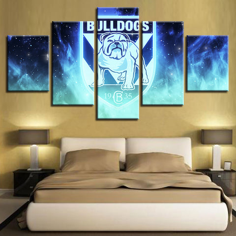 5 Panel Canterbury Bulldogs Décor Canvas Wall Art HD Print.