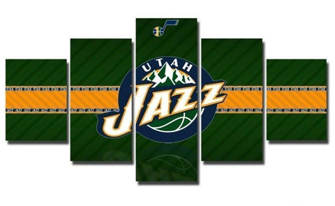 5 Panel Utah Jazz Modern Decor Canvas Wall Art HD Print