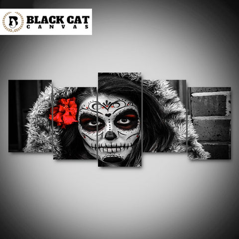 5 Panel Framed Day of the Dead Portrait Modern Décor Canvas Wall Art HD Print