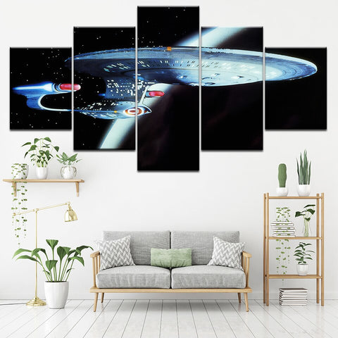 5 Panel Framed Star Trek TNG Enterprise Modern Décor Canvas Wall Art HD Print