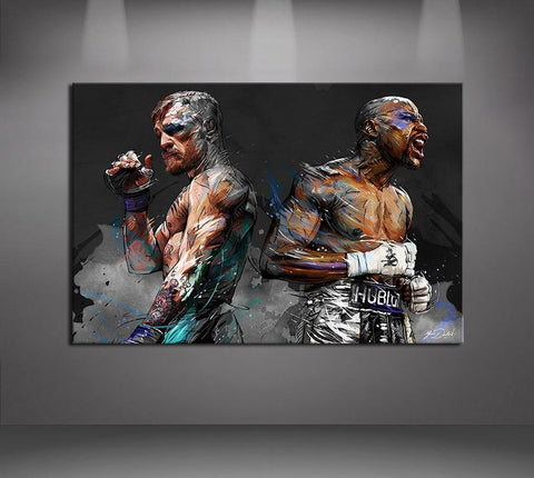 Mayweather vs Conor McGregor Boxing Modern Canvas Wall Art HD Print