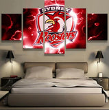 5 Panel Sydney Roosters Logo Modern Décor Canvas Wall Art HD Print.