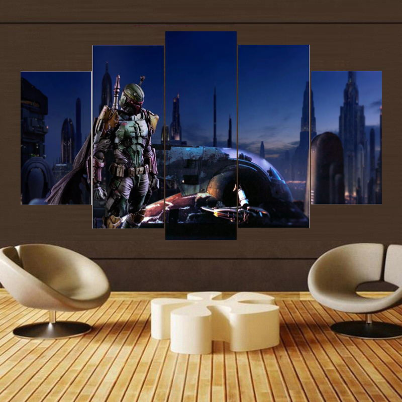 5 Panel Star Wars Boba Fett with Slave Ship Modern Canvas Wall Art HD Print