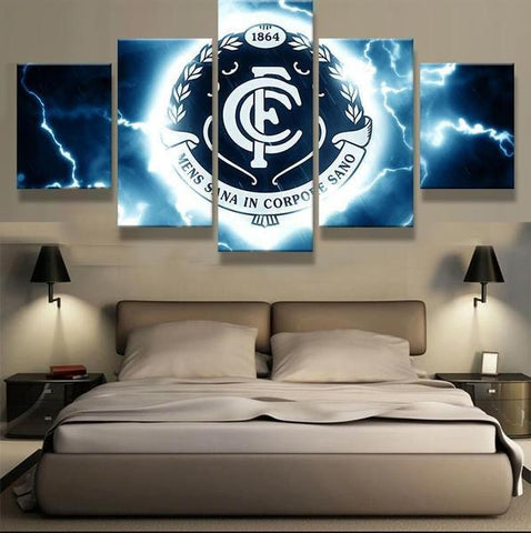 5 Panel Framed AFL Carlton Football Club Modern Décor Canvas Wall Art HD Print