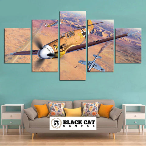 5 Panel German WW2 BF-109 Messerschmitt Modern Wall Art Canvas Print