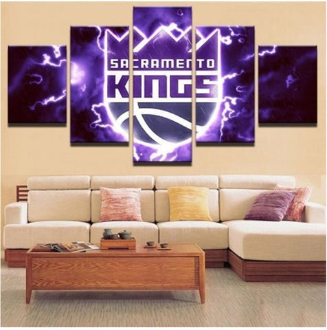 5 Panel Sacramento Kings Modern Decor Canvas Wall Art HD Print