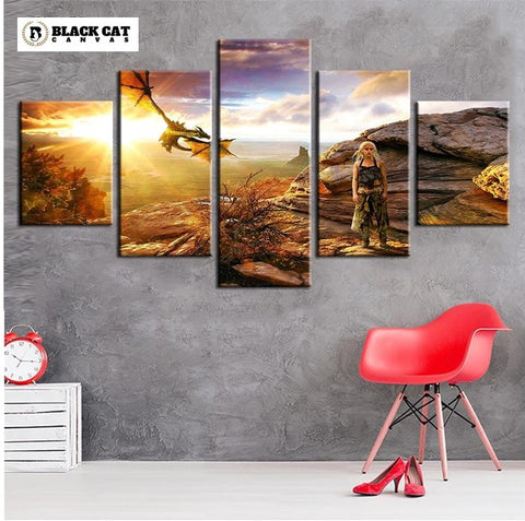 5 Panel Game of Thrones Daenerys Targaryen Modern Décor Wall Art Canvas HD Print