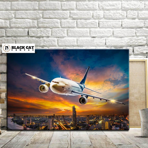 Framed 767 Aircraft Flying at Dusk Modern Décor Wall Art Canvas HD Print