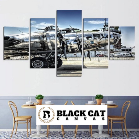 5 Panel WWII Bomber Airplane Military Modern Decor Canvas Wall Art HD Print