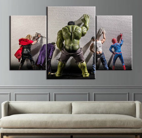 3 Panel Framed The Hulk- Joker- Spiderman-Thor-Wolverine Avenger Super Heroes Modern Decor Canvas Wall Art HD Print