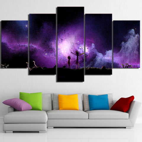 5 Panel Starry Sky Rick And Morty Picture Modern Decor Canvas Wall Art HD Print