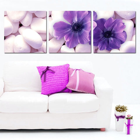 3 Panel Framed Colorful Purple Violet Modern Decor Canvas Wall Art HD Print