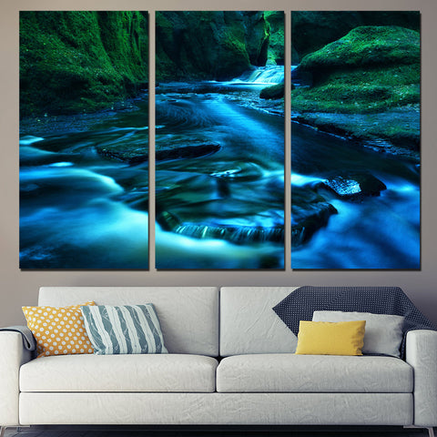 3 Panel Running River Modern Decor Canvas Wall Art HD Print