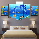 5 Panel Underwater World Dolphins Coral Reef Fish's Modern Decor Canvas Wall Art HD Print