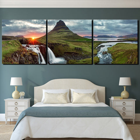 3 Panel Iceland Green Mountain River Modern Decor Canvas Wall Art HD Print