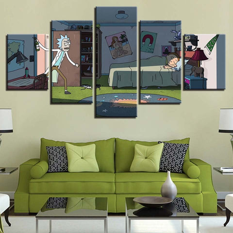 5 Panel Rick And Morty Printed Modular Modern Decor Canvas Wall Art HD Print