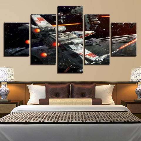 5 Panel Star Wars X-Wing Attacking Modern Decor Canvas Wall Art HD Print