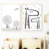 Nordic Cartoon Giraffe Llamas Tree Modern Kids Room Canvas Wall Art HD Print