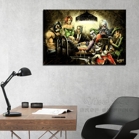 Decor Wall Art Print Canvas Pictures 1 Pieces Joker Harley Quinn Playing Poker Poster Abstract Batman Arkham City Game Paintings