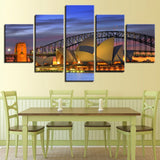 Canvas Wall Art Pictures Home Decor Living Room 5 Pieces Sydney Night Scenery Painting HD Prints Harbour Bridge Poster Framework