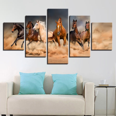 Canvas Paintings Wall Art Framework 5 Pieces Galloping Horses Poster HD Prints Running Steed Pictures For Living Room Home Decor