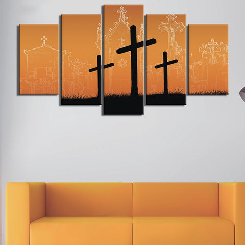 5 Panel Hill Of Three Crosses Modern Decor Canvas Wall Art HD Print