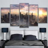 5 Panel Chicago Cityscape Modern Décor Canvas Wall Art HD Print.