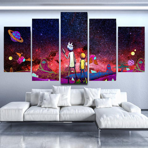 5 Panel Black Star Universe Rick & Morty Modern Décor Canvas Wall Art HD Print